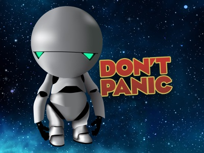Marvin alan rickman illustration hitchhikers guide to the galaxy gradient mesh illustrator