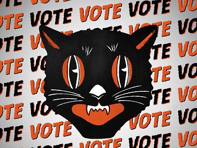 VOTE orange black halloween cat vintage photoshop illustrator vote2020 vote