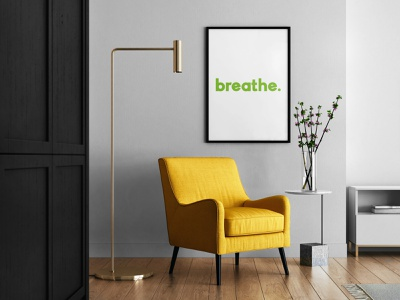 Breathe poster reminder mock poster design poster