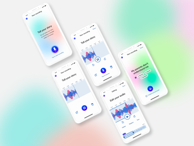 Mobile app for sharing stories by voice ui  ux ux design ux stories voice mobile app design mobile app app design app figma design interface design inspiration webdesign web ui design ui design