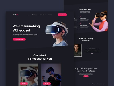 vr headset gaming product website design in adobe xd landing page inspiration landingpage futuristic ui modern website modern landing page ui ux landing page concept ui design ui ux design landing page adobe xd design adobe xd templates product website ui design gaming website product product page product landing page adobe xd vr vertual reality