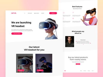 VR Headset landing page white theme web template landing page concept adobe xd design website design landing page ui landing page adobe xd ui ux design ui design adobe xd templates