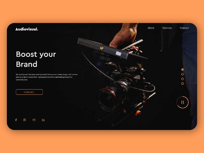 Audiovisual landing page web branding website design vector ux ui