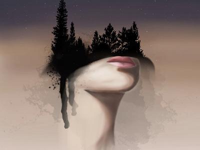 Ethereal nature art illustration design nature illustration stars trees nature mothernature night