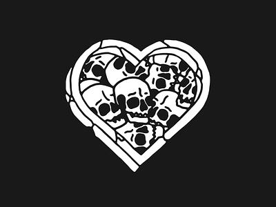 Heart of skulls black and white traditional tattoo death tattoo heart skull illustration