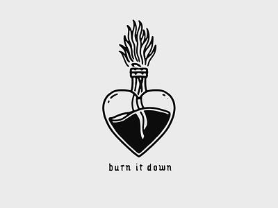 Burn It Down lettering blackletter gothic ignorant heart blackwork black tattoo sacred heart illustration