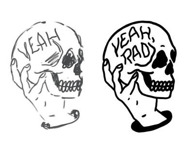 Yeah, Rad apparel traditional tattoo tattoo blackwork skull typography lettering illustration
