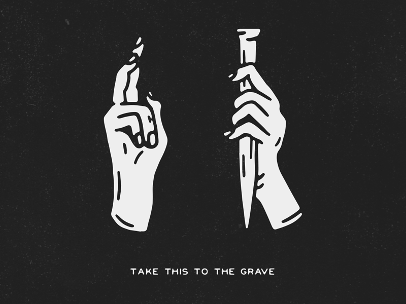 TAKE THIS TO THE GRAVE black blackwork traditional tattoo texture vintage script hand lettering lettering tattoo illustration