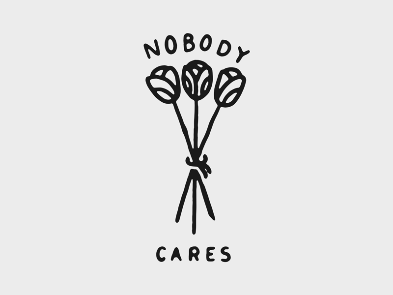 NOBODY CARES black blackwork traditional tattoo texture vintage script hand lettering lettering tattoo illustration typography type