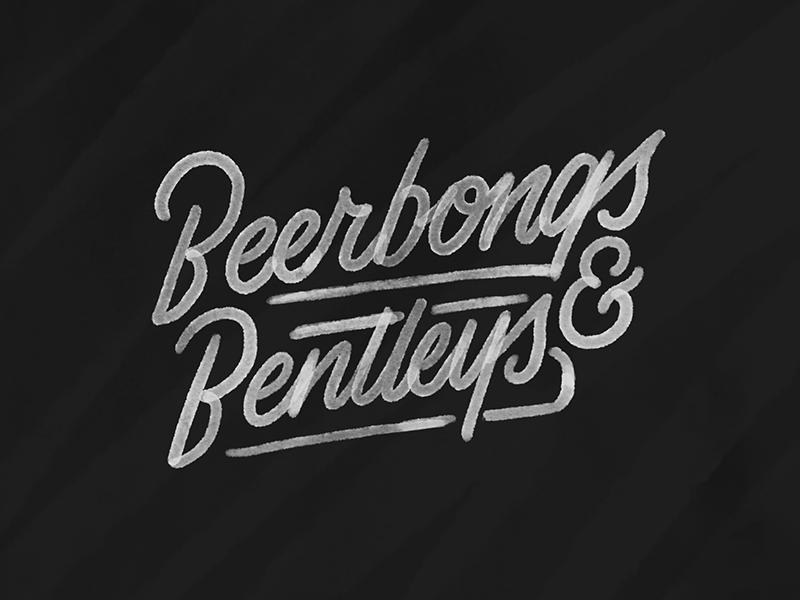 Beerbongs & Bentleys black blackwork traditional tattoo texture vintage script hand lettering lettering tattoo illustration typography type