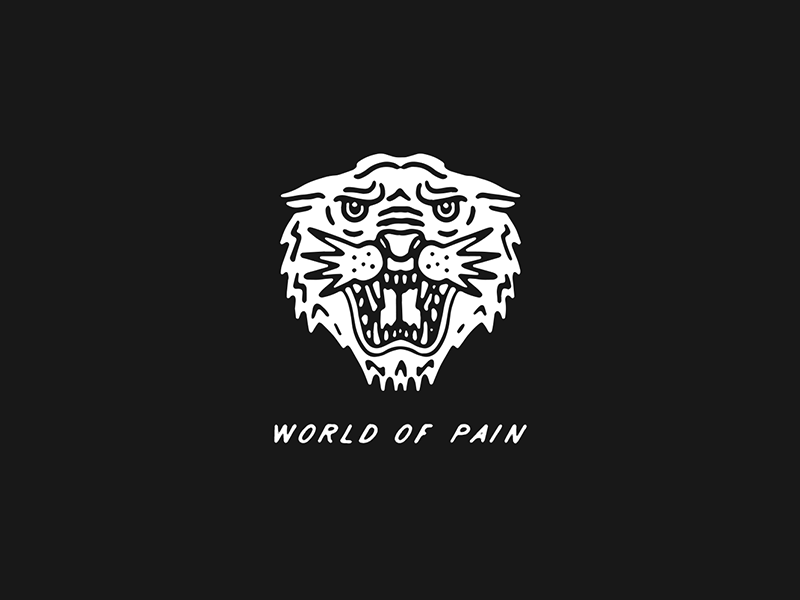 World Of Pain flash traditional tattoo tattoo typography tiger illustration lettering