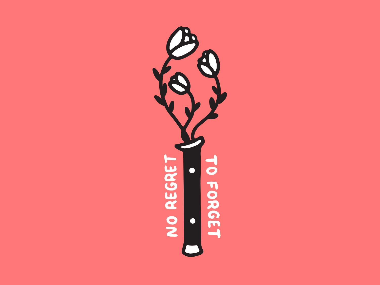 No Regrets tattoo type handlettering illustration