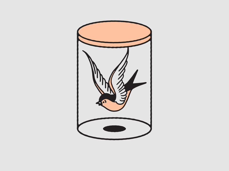 Sparrow In A Jar ignorant black and white tattoo art traditional tattoo sparrow tattoo design illustration