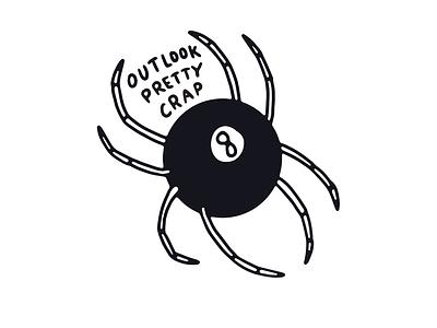 Beacon of Positivity typography skull spider black and white tattoo branding vector logo design illustration lettering