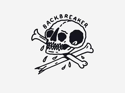 Backbreaker skull a day artist hand lettering lettering type vintage traditional tattoo skull art black and white tattoo skull illustration