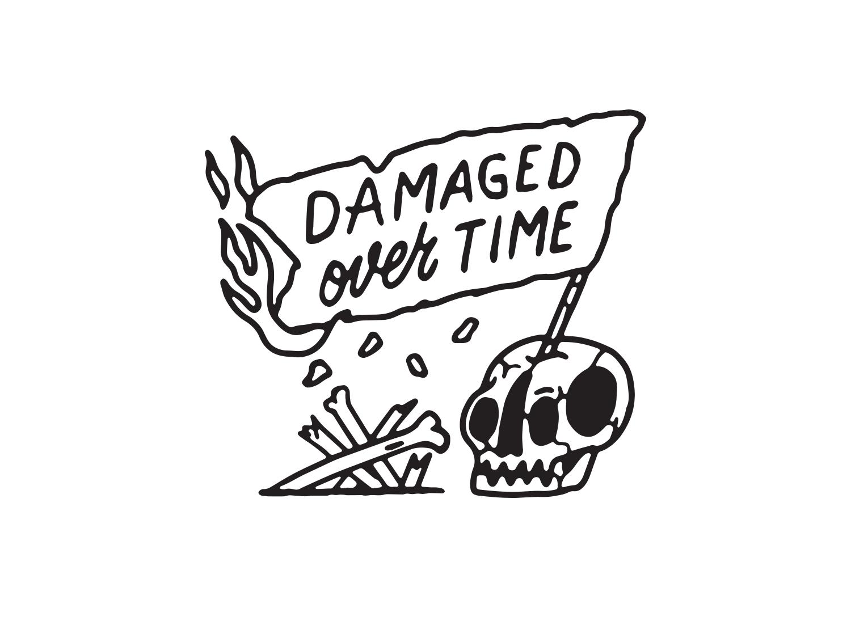 Damaged Over Time vintage illustrator design logo hand lettering black and white illustration tattoo skull