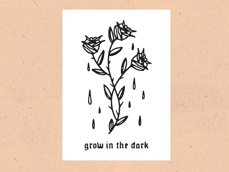 Grow In The Dark blackwork tattoo flower rose vintage typeface type hand lettering texture illustration
