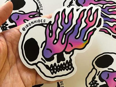 Flaming skull stickers tattoos blackwork hand lettering vector illustration vector holographic gradient tattoo skull stickers