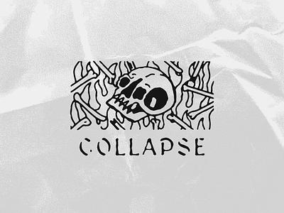 COLLAPSE skulls grunge grit black and white blackwork skull tattoo hand lettering lettering vintage texture