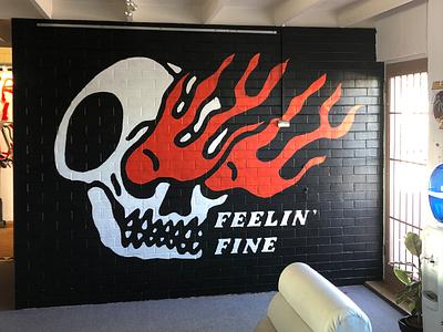 Feelin' Fine Mural hand lettering serif flames traditional tattoo tattoo lettering skull mural