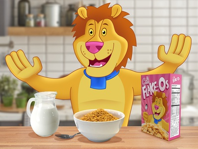 Lenny The Lion kitchen illustration cereal lion