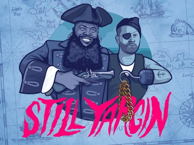 Still Yargin illustration treasure map map el-p killer mike beard gold chain pirate run the jewels rtj