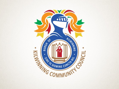 Kilwinning Community Council update armor ribbons armour knight badge shield council crest logo