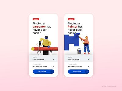 Finorker App Splash Screens typography ui design get started button 3d splashscreen splash screen app design