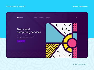 XD FREEBIE - Cloud Landing Page ui  ux web design website landing page freebies free freebie adobexd xd design