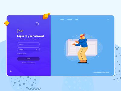 Login Screen for Someza App sign in login screen ui  ux ui illustration design