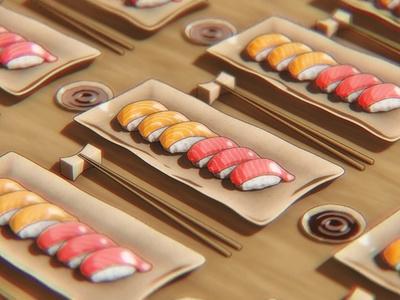 Sushi Toon food illustration design blender3dart 3d artwork 3d art blender 3d blendercycles blender 3d