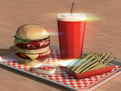 Classic American Double Cheeseburger 3d illustration illustration design blender3dart 3d artwork 3d art blender 3d blendercycles blender 3d