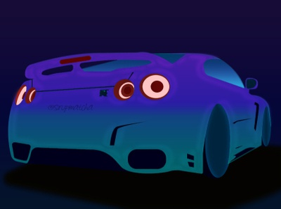 Nissan GTR art flatdesign illustration design