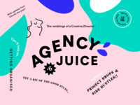 Agency Juice February Cover face badge fun angled cover article agency design branding brand