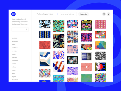 Pattern Collect dashboard app card inspiration directory gallery ui brand illustration