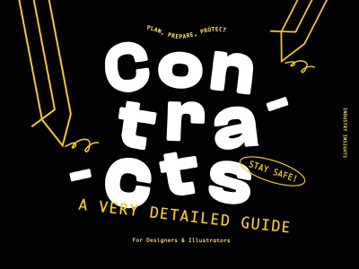 Cover artwork for our guide on Contracts stroke yellow pen siganture contracts education branding illustration fun lettering design custom cust typography cover