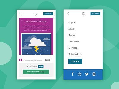 Briefbox mobile views cta cloud lightning socials menu education briefbox mobile