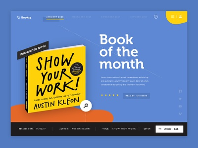 Booksy: Book of the month menu social button nav research book ux header landing page ui