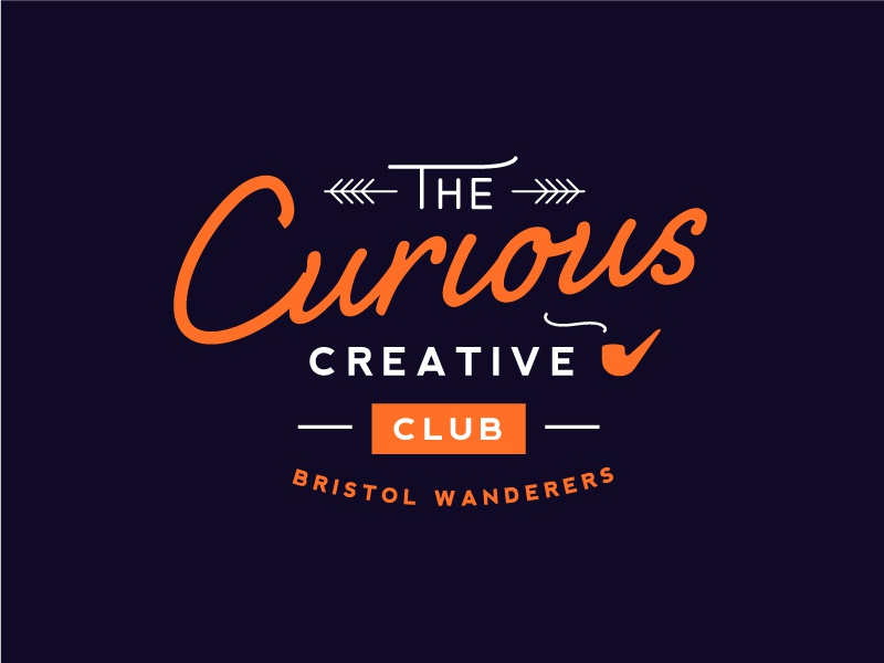 Curious Creatives Club pipe quirky vintage fun custom graphic symbol brand mark type badge lockup
