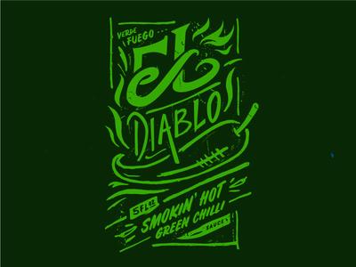 El Diablo - Green Chilli Sauce hot heat flame label sauce lettering custom type chilli fire