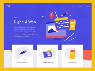 Single service layout ux ui website services playful loose french deco colourful fun quirky abstract