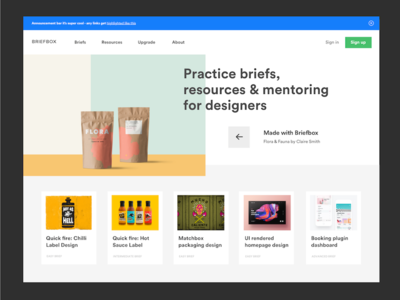 Briefbox homepage exploration nav header website fresh clean widget card button modern simple ux homepage