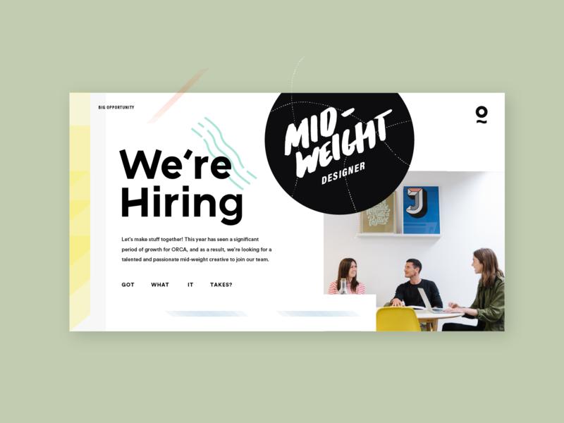 We're hiring! website landing ux orca bristol designer mid-weight hiring