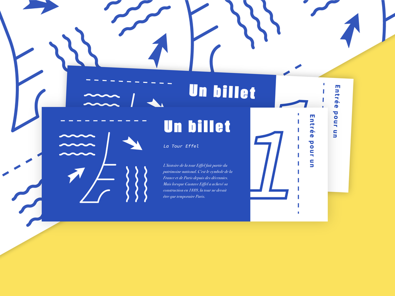 La Tour Eiffel tickets bright playful pattern france tickets branding badge design typography custom lettering