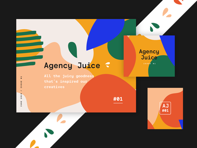 Agency Juice brandrollout identity pattern design fun typography illustration brand