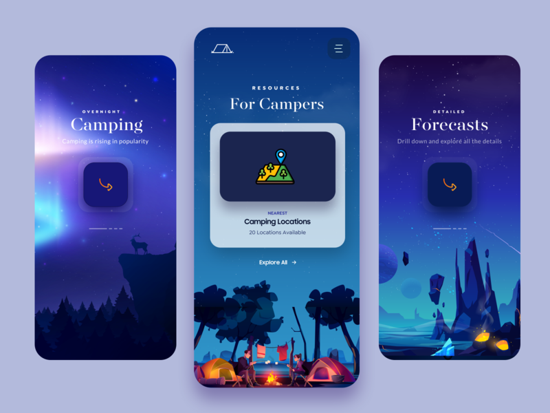 Camping Mobile App Design app mobile app design android app minimal animation branding fire mountains location weather app hiking camping product design ui design dark ui illustraion typogaphy app design mobile web design