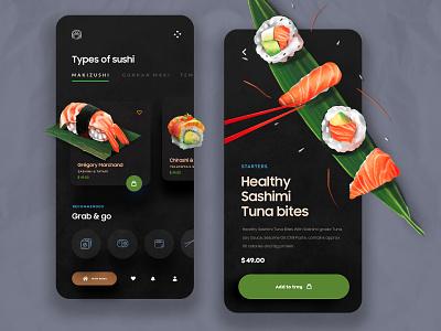Food App UI Design dark ui salad health app sushi online order summary detail ecommerce app product design 3d minimal food app ui animation web design typogaphy mobile ui design app design mobile app food app