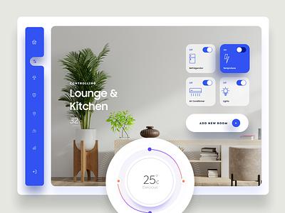 Smart Home Dashboard Ui room gradient ux ui minimal typography app dashboard ui admin dashboad website home controls smarthome 3d 2d product design web mobile illustraion
