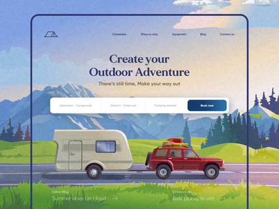 Camplination Landing Page Design minimal animation typography camping booking outdoors nature 3d 2d abstract vector illustration outdoor adventure ux ui mobile app design web