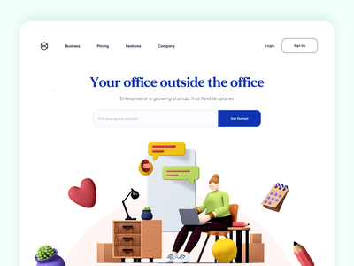 Remote Work / Work space Landing Page Design agency creative animation remote working typography remote work remote office landing page landing illustration 3d designer 3d art 3d design 3d app minimal website design web